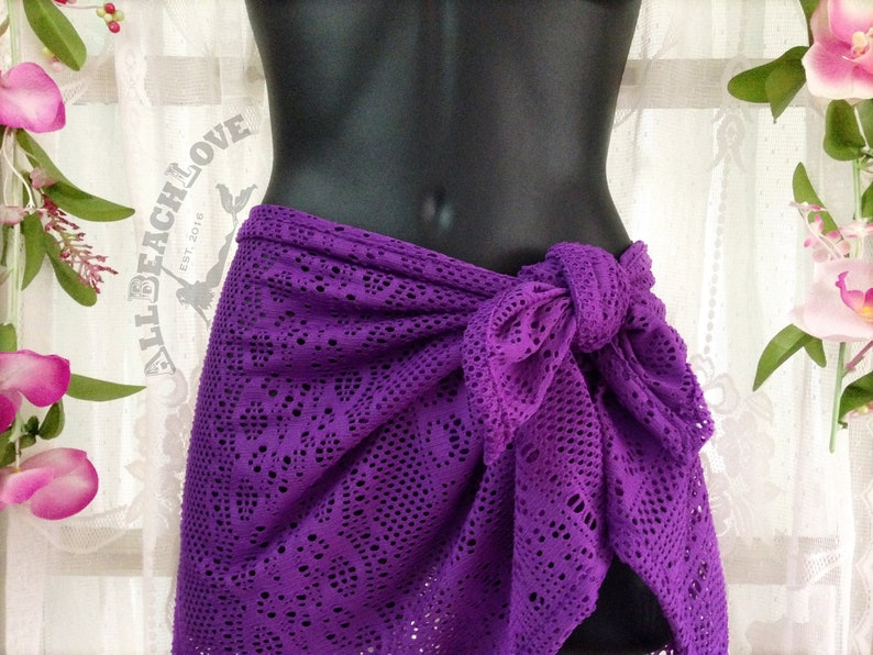 358d766e65 Purple Lace Sarong Pareo Beach Wrap Cover up Beautiful