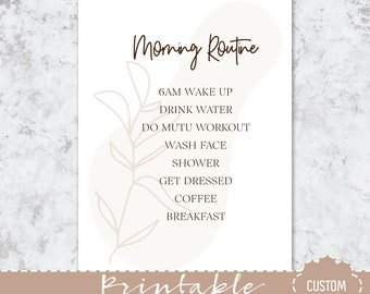CUSTOM MORNING ROUTINE Printable Dashboard - 5 different Colour Options - Choose Your Routine and Planner Size