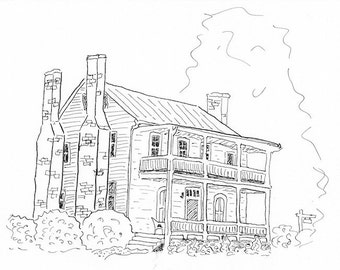 Greeting card - pen and ink drawing of historic house in small US town