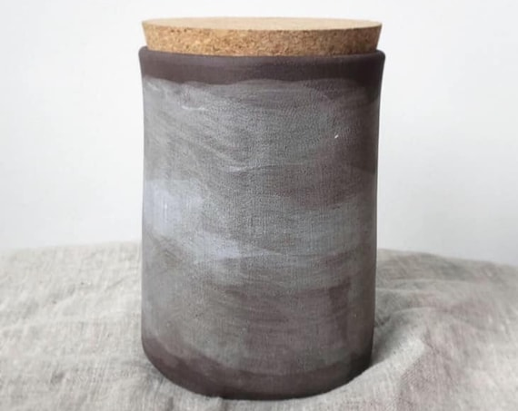 "5"" Storage jar, hand painted in Soft Grey Linen"