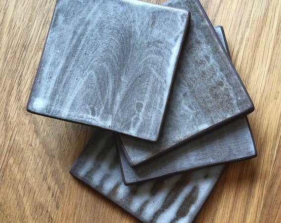 Tile set hand painted in Soft Grey Linen