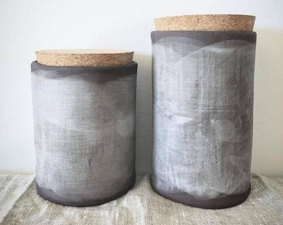 """6.5"""" storage jar in Soft Grey Linen"""
