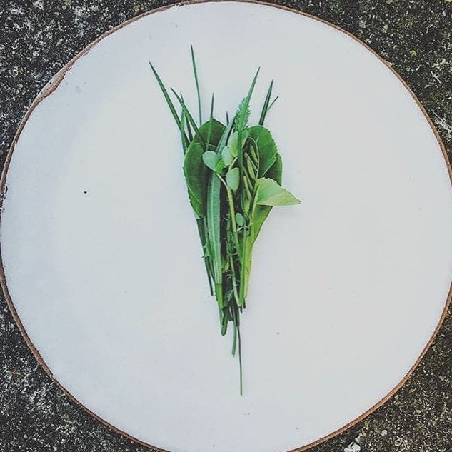 & White stoneware dinner plate