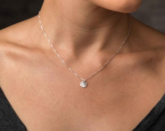 Sterling Disc Necklace, Brushed Silver Coin, Circle Pendant