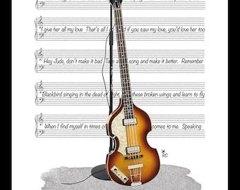 Large Paul McCartney Original Tribute Print, Beatles, Guitar, Music