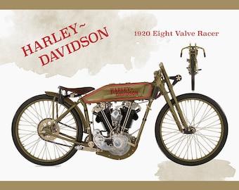 Large Harley Davidson 1920 Racer Print, Vintage, Motorcycle