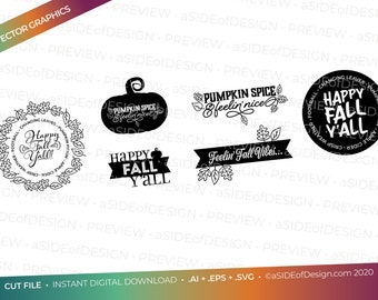 Digital Download: Cricut Silhouette Cut files Happy Fall 2  SVG PNG EPS