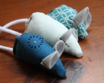 Unique Cat Toy Set, Handmade Mice - Blue, Navy, Black, Grey, Floral, Geometric