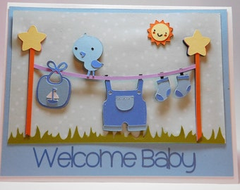 Welcome Baby greeting card, Boy or Girl