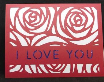 I love you, rose die cut Valentine's day card