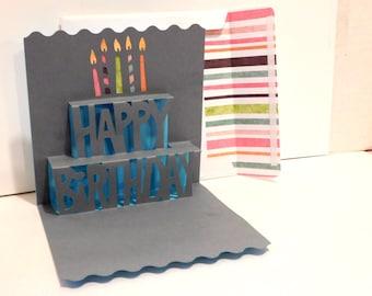 Birthday Card, Popup, 3D, greeting card, blank card