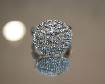 14K White Gold 1950's Vintage Diamond Ring, Ready to Ship Size 7