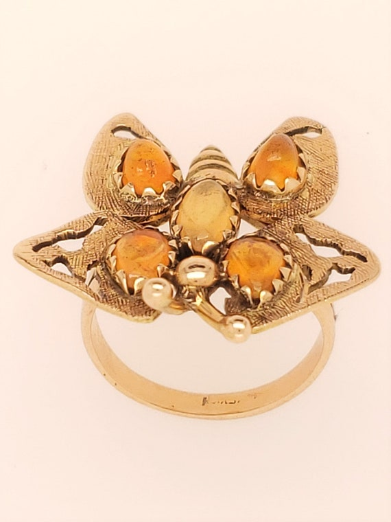 14k Yellow Gold Mexican Opal Butterfly Ring, Vinta