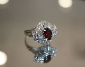 Platinum Vintage 1950s Red Spinel Diamond Ring, Ready to Ship, Size 6