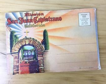 Linen Postcard San Juan Capistrano Mission California Folder Packet 1950 Travel Souvenir