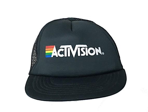 True VTG Activision Logo Black Mesh Trucker Snapba