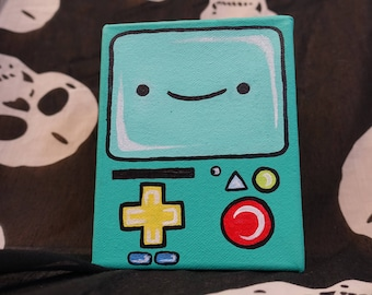 Adventure Time BMO Acrylic Art Canvas Painting - Wall Decor - Acrylic Painting - Home Decor - Nursery Decor