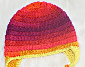 Crochet Child Earflap Hat Sized To Fit A 7-10 Year Old Tassels Girl's Winter Fall Beanie Hat Pink Yellow Stripes Girly Beanie