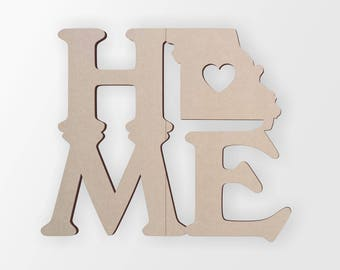 Home Decor Wall Art Wall Hanging Wooden Cut Out Wooden shape Missouri Home State Unfinished and Available from 2 to 42 Inches