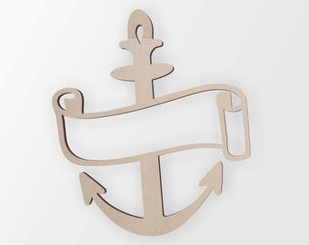 Wooden Anchor With Scroll - Cutout, Home Decor, Unfinished and Available from 1 to 42 Inches Tall
