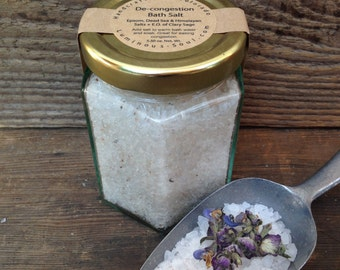 De-congestion Bath Salts, Herbal Bath Soak, Breathe Easy, Breathe Deep Bath Salts, 5.5oz net wt.
