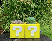 Mystery Block Planter, Super Mario Brothers, Video Game Planter, Succulent Planter, Air Plant, 3D Printed, Desk Planter, Gift, For Him