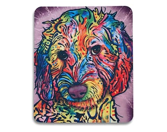 Hand tooled leather mouse pad I love my Goldendoodle