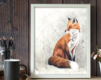 Red Fox Watercolor Painting - Nature Art Print - Woodland Animal Illustration - Dorm Decor - Nursery Wall Art