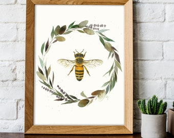 Honey Bee with Floral Wreath Watercolor Painting - Nature Art Print - Wildlife Illustration - Dorm Decor - Nursery Wall Art - Bumble Bee Art
