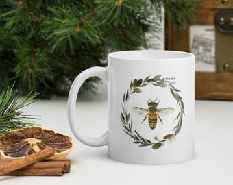 Honey Bee with Floral Wreath Mug, Watercolor Art Coffee Mug, Tea Mug, Gifts for Her & Him, Housewarming Gift, Christmas Gift, Bee Gift