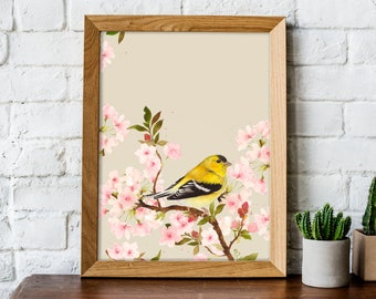 Goldfinch Watercolor Painting - Nature Print - Woodland Animal - Nursery Art - Wildlife Illustration - Dorm Decor - Bird Wall Art