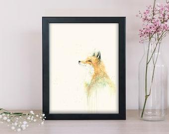 Wild Fox Watercolor Painting - Nature Art Print - Woodland Animal Illustration -  Dorm Decor - Nursery Wall Art