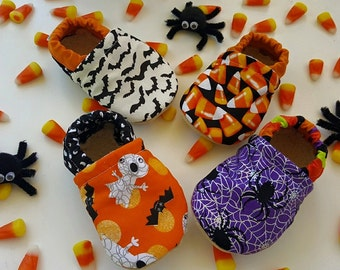 Halloween, Bats, ghosts, candy corn, spider, web, Moccasins, baby crib shoes, soft sole