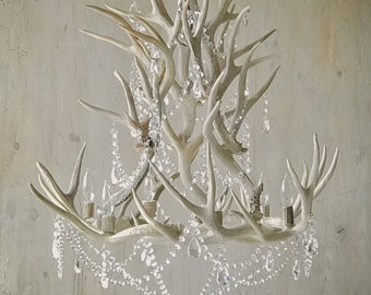 Antler Chandelier adorned with Crystals