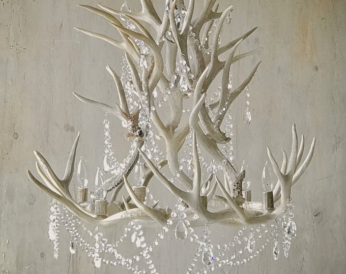 Featured listing image: Antler Chandelier adorned with Crystals