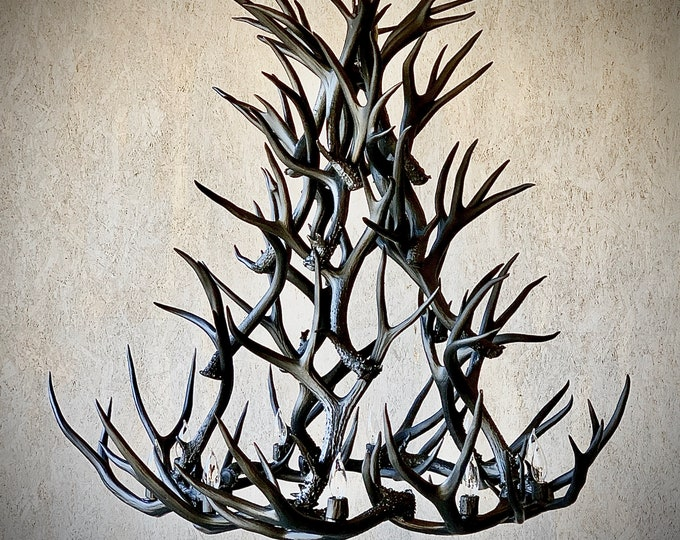 "Featured listing image: 48"" Large Antler Chandelier in Matte Black"