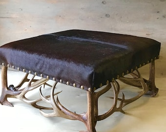 Antler Ottoman, Handmade to order using naturally shed rustic antlers.  FREE SHIPPING!