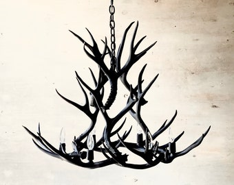 Antler Chandelier, painted solid Black and hand crafted using naturally shed rustic antlers.  FREE Shipping!
