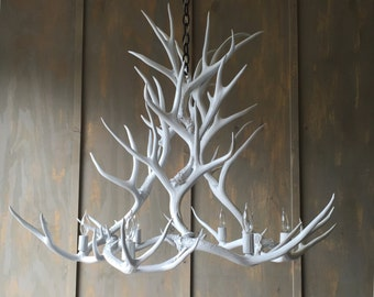 Antler Chandelier, painted solid white and hand crafted using naturally shed rustic antlers.
