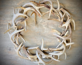 REAL Antler Wreath 28""