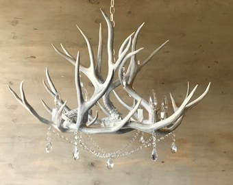 "Antler Chandelier adorned with Crystals   32"" x 22"""