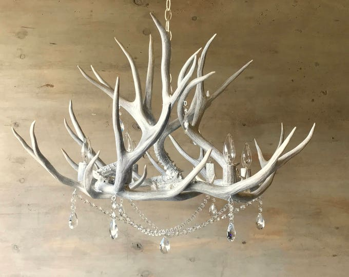 Featured listing image: Antler Chandelier, hand crafted using naturally shed rustic antlers adorned with crystals.  FREE Shipping!