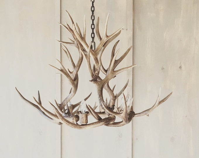 Featured listing image: Antler Chandelier,  hand crafted using naturally shed rustic antlers.  FREE Shipping!
