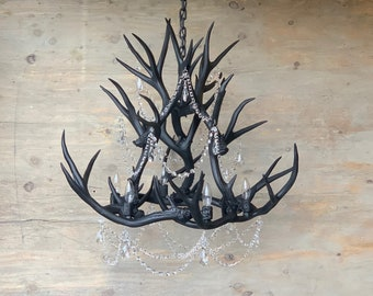 Matte Black Crystal & Antler Chandelier