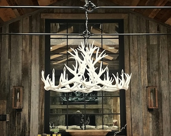 Solid White Oblong Antler Chandelier
