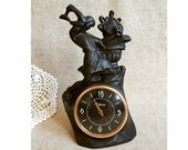 Old mantel clock Antique clock figure Metal table clock 60s Vintage clock sculpture Rare mechanical clock Cast iron mantel clock Desk clock