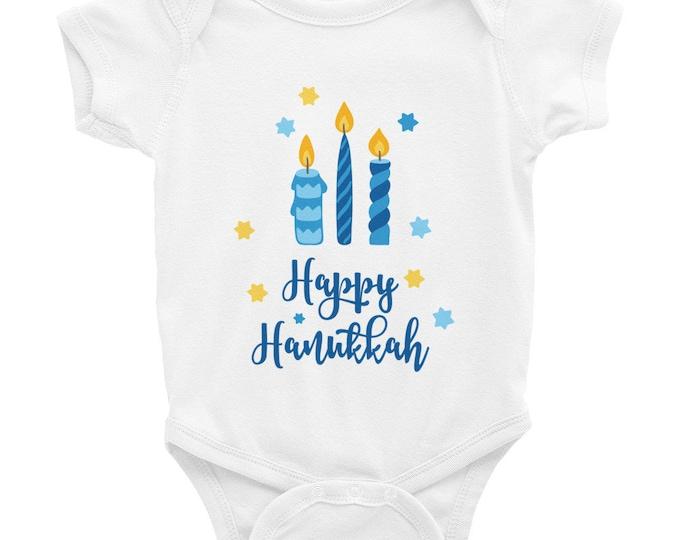 Happy Hanukkah 1st Chanukah baby outfit romper shirt Jewish Baby Gift Toddler First Chanukkah