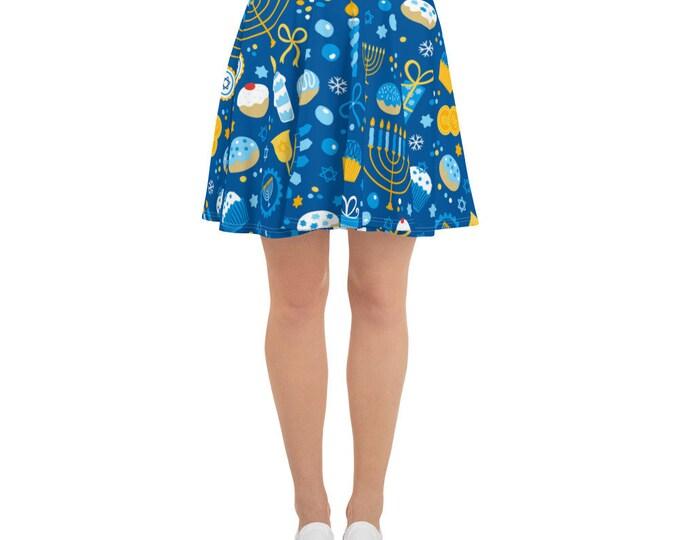 Blue Yellow Chanukah Skirt Women's Hanukkah Gift Chanukkah Ladies outfit Blue Yellow Menorah Dreidel Plus size Gelt Latke Skater Skirt