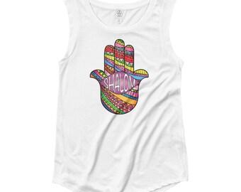 Shalom Chamsa Shirt Jewish Peace Rainbow Ladies' Cap Sleeve T-Shirt