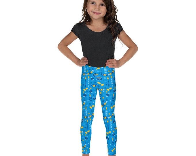 Blue Chanukah Kid's Leggings Gelt Dreidel Hanukkah Gift Girl